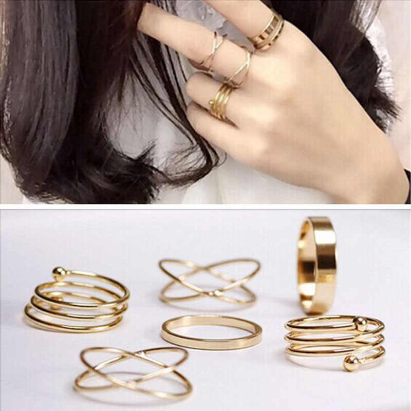 6pcs/set punk stackable Knuckle midi rings for women Finger Rings set bague Ring  8CRD99