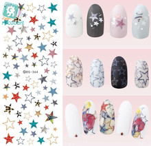 Rocooart DS364 Water Transfer Nails Art Sticker 2017 Year Fantacy Colorful Five-pointed star Nail Wrap Sticker Manicura stickers