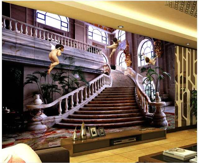 Us 16 67 49 Off Custom Photo 3d Wallpaper Non Woven Mural European Angel Stairs Tv Background Painting 3d Wall Murals Wallpaper For Living Room In