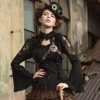 Steampunk Sexy Ladies Gothic Halter Lace Blouse Fashion Black White Punk Trumpet Sleeve Shirts Retro Palace