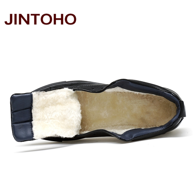 JINTOHO 2018 Casual Leather Boots Genuine Leather Men Shoes Fashion Male Shoes Winter Ankle Boots Male Boots Winter Men Shoes 2