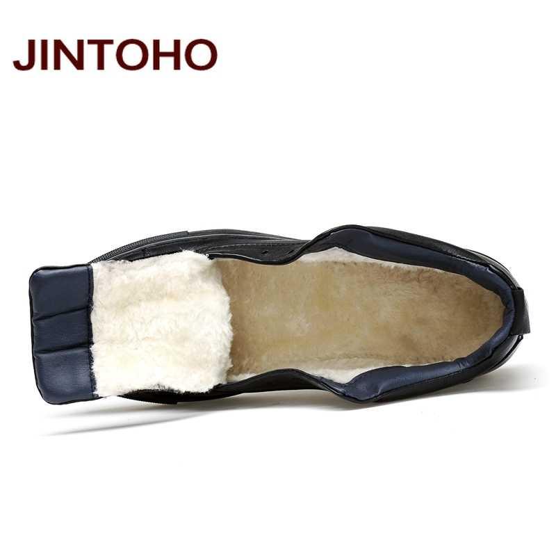 JINTOHO 2018 Rahat Deri Çizmeler Hakiki deri erkek ayakkabısı Moda Erkek Ayakkabı Kış yarım çizmeler Erkek Botları Kış erkek ayakkabısı