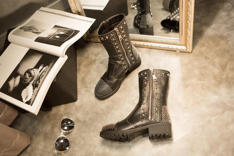 Rivets Rond Cuir De Latérale Femmes Noir Talon Dames Glissière Femme Cheville Pleine Avec Luxe En Bottes Chaussures Pour Bout Mode Chunky Bottines qrHYwtx7r
