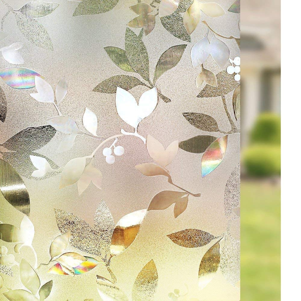 Funlife 45X100cm 3D Leaf Pattern Frosted No Glue Static Cling Privacy Glass Window Films Heat Control Anti UV Window Sticker