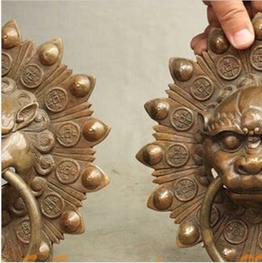 """SUIRONG---510 +++ 9 """"ฮวงจุ้ยจีนบรอนซ์วัฒนธรรมยามสิงโตหัวรูปปั้นประตูแหวนเคาะคู่"""