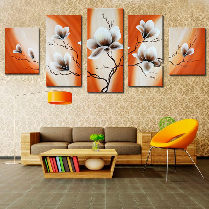 5 Pieces Panel Palette Knife Hand Painted Flower Abstract