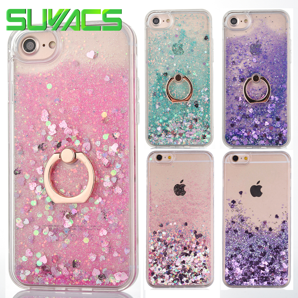 5f1d58b1b7 SUYACS For Iphone 5 5S SE 6 6S 7 Plus Phone Case Love Heart Glitter Stars  Dynamic Liquid Quicksand Soft TPU Buckle Back Cover