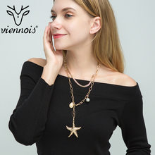 Viennois Accessories Three Layers Simulated Pearl Shell Pandent Necklace Starfish Golden Chain For Women Party Jewelry 2019(China)
