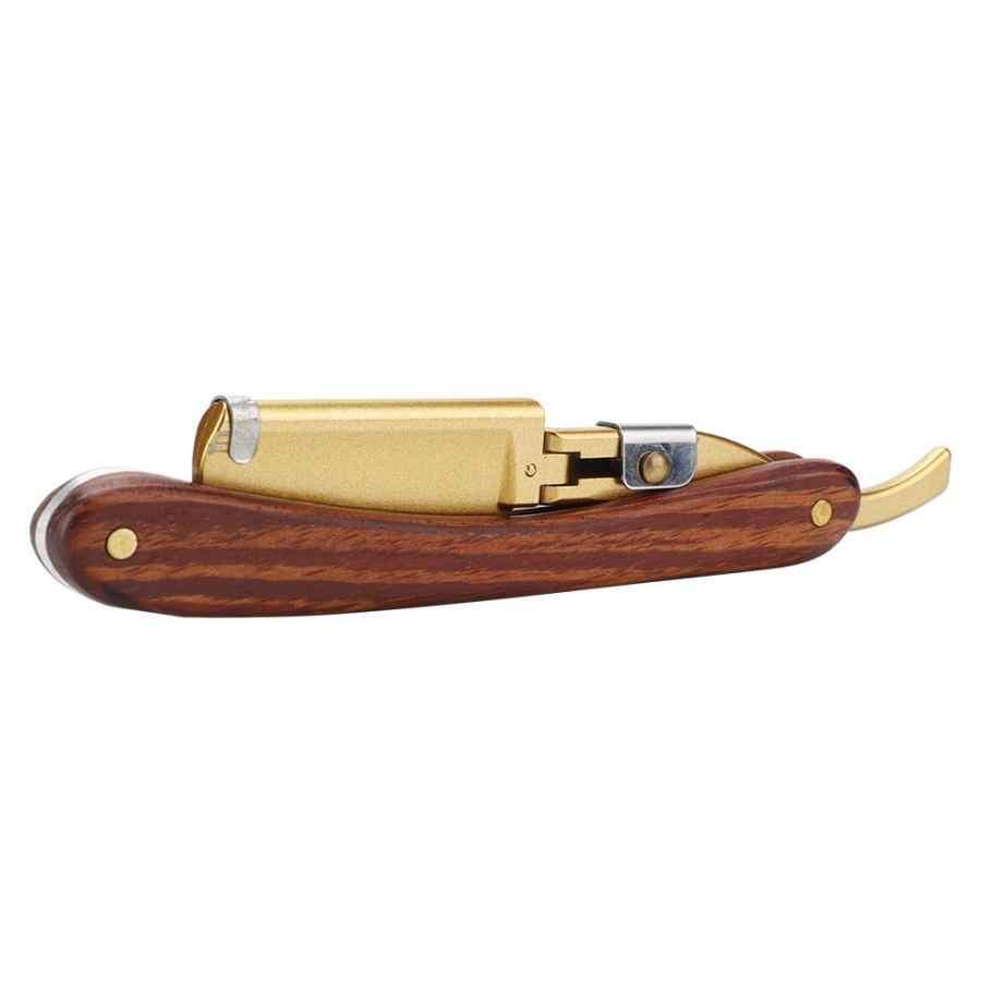 مستقيم مقبض خشبي الرجال دليل الكلاسيكية حلاقة طوي الشعر اللحية الحلاقة سكين الحلاقة فرشاة