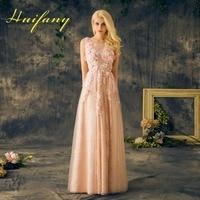 Fairy 3D Bloemen Lange Avondjurken Hals Tulle Champagne Roze Kant Sheer Top Floor Lengte Prom Jurken Feestjurk