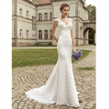 New Stock Vestido De Novia White/Ivory Appliques Beading A-line Lace Wedding Dress Bridal Dresses Wedding Gowns US Size 4-22