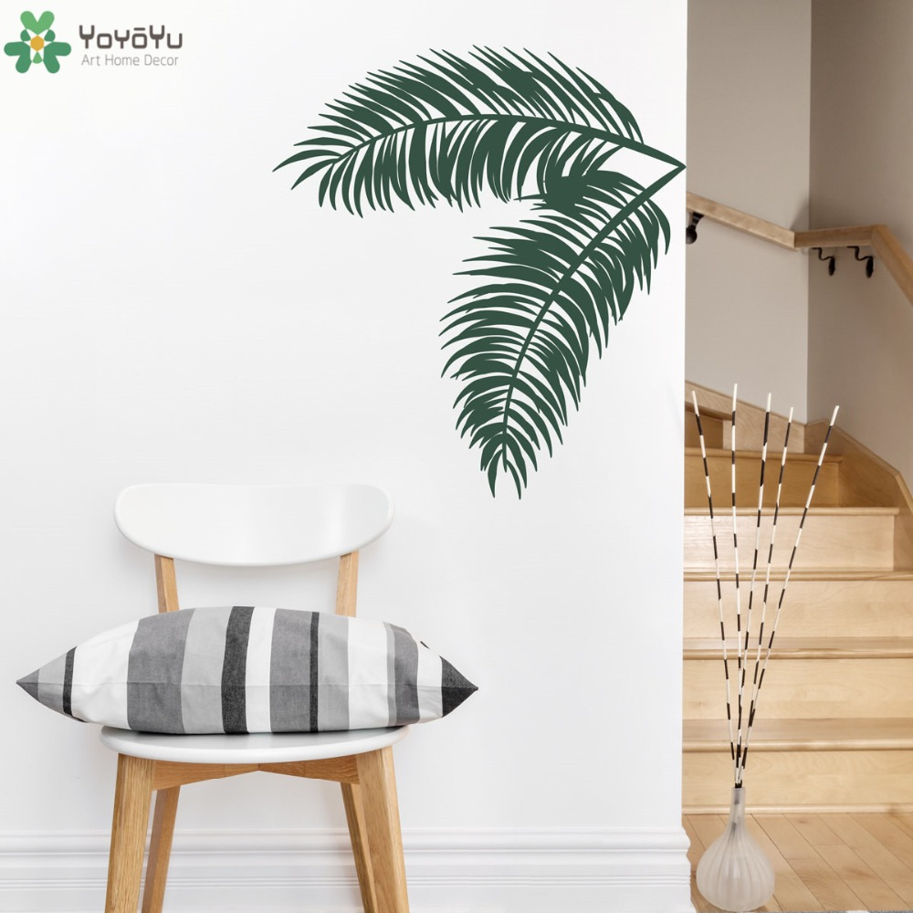 Hawaiian Style Wall Decal Palm Leaves Wall Stickers Vinyl