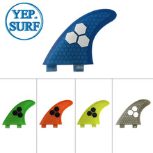 Surfboard Fibreglass Fin FCS G5 Honeycomb Surf Quilhas green 5 colors black logo