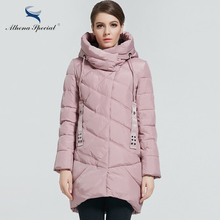 Athena Special 2017 New Winter Womens Bio Down Jackets Hooded Thick Warm Medium Length Parkas Brand Women Overcoat High quality