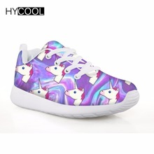 hot deal buy hycool unicorn pattern girls shoes walking sneakers kids boys shoes lace up sport famous brand sneakers wearable walking shoes