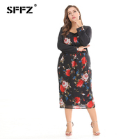 SFFZ 2018 Summer New Women Dress Plus Size Fashion Casual Loose Sexy O Neck Flower Print Party Beach Womens Dresses Vestidos