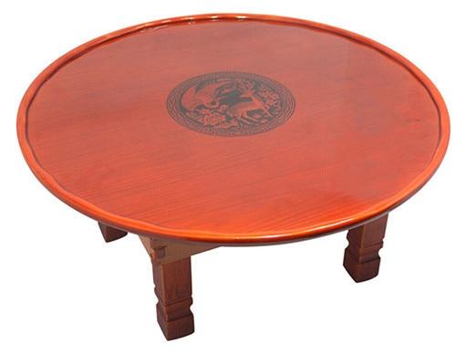 Round Living Room Table 75cm Folding Leg Korean Antique Furniture Asian Floor Table for Dinning Traditional