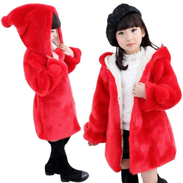 Frío invierno Bebé Niñas Ropa de piel falsa abrigo infantil 2018 nuevos  niños espesar chaqueta con 5966be04b9a9