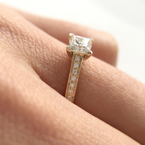 Image 3 - 1 Carat Elegant DEF Color Princess Halo Engagement Wedding Moissanite Diamond Ring For Women Real 14k 585 Yellow Gold