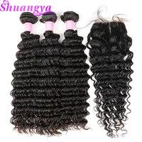 Shuangya Brazilian Deep Wave Hair 3 Bundles With Closure Middle Part Human Hair Bundles With Closure