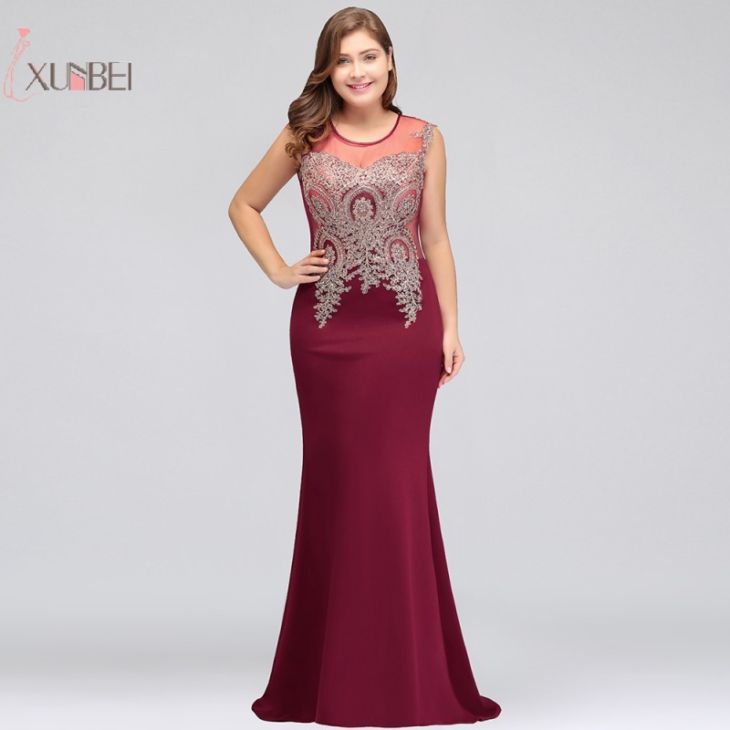 Luxury Burgundy Plus Size Mermaid Long   Prom     Dresses   2019 Gold Applique Sleeveless   Prom   Gown Vestido de gala