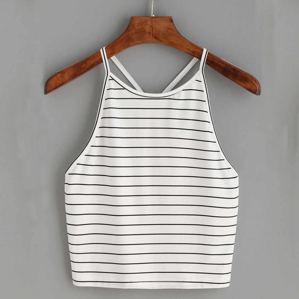 女性の作物は、セクシーなストライプタンクトップノースリーブ Tシャツ夏のビーチ自由奔放に生きるセクシーなトップ mujer bralette croptop オー femmeL2