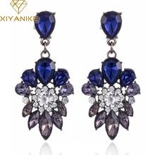 New Fashion Trendy Crystal Zinc Alloy Earrings Blue Plant Leaves  Dangle Earrings For Women Fine Jewelry For Woman XY-E49