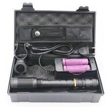 Светодиодная вспышка XML  T6 l2 с зумом, масштабируемая лампа, фонарики, фонарики + 2 батареи 18650 + зарядное устройство + велосипедный зажим + коробка