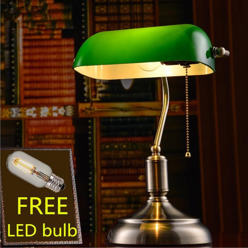 LED Schreib Tisch Leuchte Banker Lampe Glas grün Büro Beleuchtung Messing antik