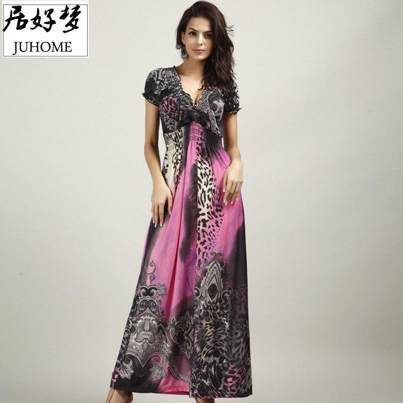 plus size Maxi Dresses Women's Large Size Summer Beach tunic V Neck Milk Silk Bohemian Female Casual Long Slim Elastic vestidos