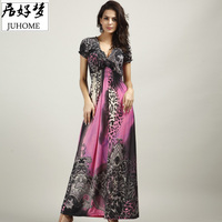 Plus Size Maxi Dresses Women S Large Size Summer Beach Tunic V Neck Milk Silk Bohemian