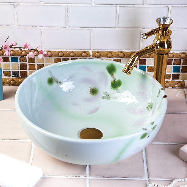 China Vintage Style Ceramic Art Basin Sink Counter Top Bathroom Sink  Ceramic Hand Wash Basin Cabinet