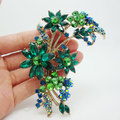 Vintage Fashion Style 4.02' Green Orchid Flower Brooch Pin Rhinestone Crystal Branch