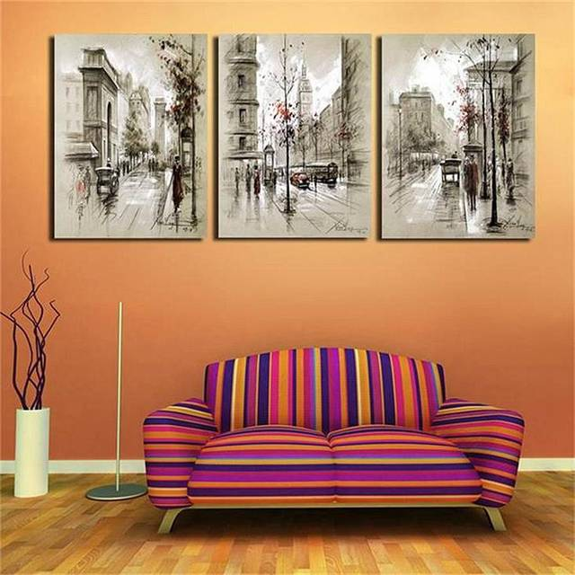 Wall art canvas prints pencil drawing london retro city street landscape poster pictures for room wall