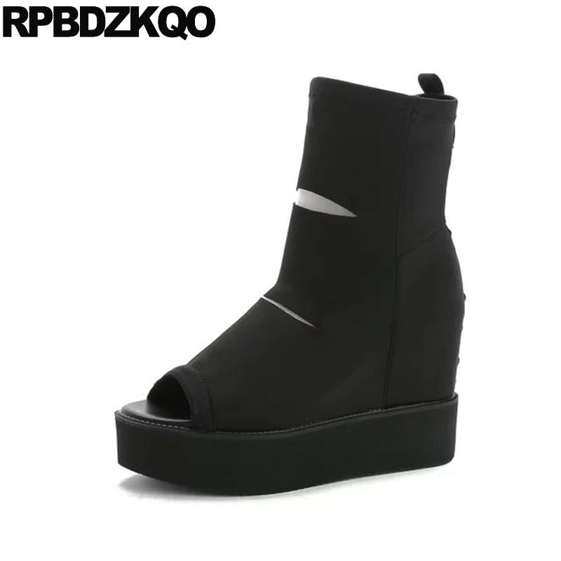 High Heel Slip On Rivet Wedge Peep Toe Mid Calf Boots Extreme Height Increasing Fashion Summer Stud Muffin Women Shoes Black