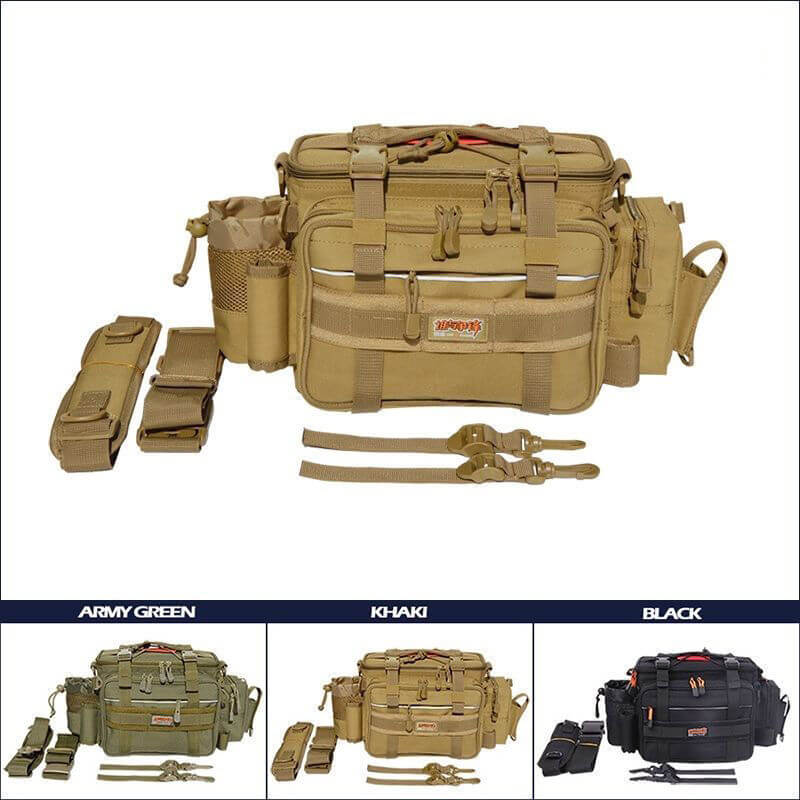 Fishing Tackle Bag Accessories Lure Bag Multi-Pocket Single shoulder Bag Gear Box Case Storage 49*19*22 cm Saltwater Freshwater
