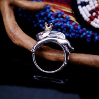 925 sterling silver rabbit crown Thai silver ring Thailand import the little white rabbit
