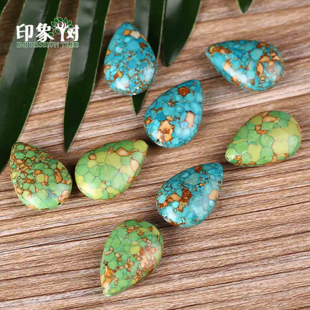 14748a13736e 10 piezas 25X16mm turquesa Kallaite Teardrop Beads colgante de piedra con  forma de pera pendiente collar DIY fabricación de joyería 1801