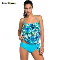 2018 Patchwork Women Swimwear Push Up Swimsuit Sexy Double Layer Tankini Bikini Set Retro Summer Beachwear
