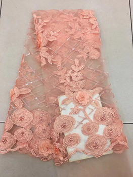 2018 Latest Fashion Sequins African Lace Fabric Of Beaded And 3D Big Flowers African French Lace Fabric High Quality Wedding