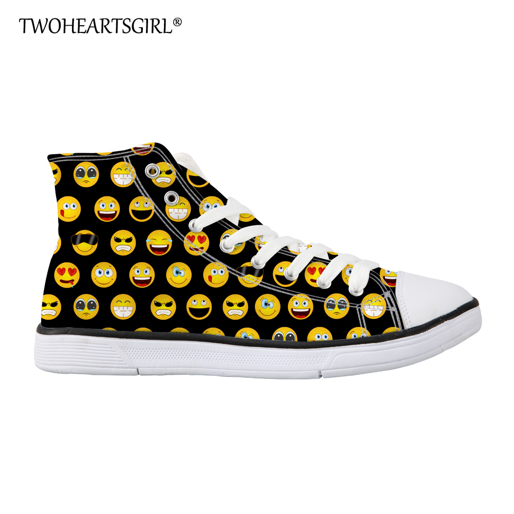 Twoheartsgirl Funny Emoji Pattern Women Breathable Walking Vulcanized Shoes Lace-up Teens Girls Casual High Top Canvas Shoes e lov women casual walking shoes graffiti aries horoscope canvas shoe low top flat oxford shoes for couples lovers