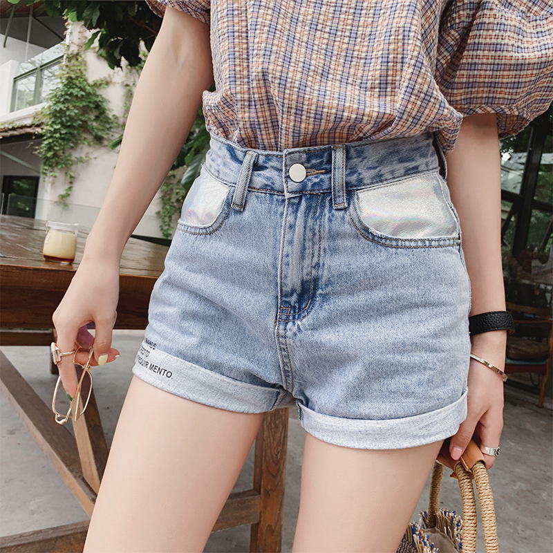 Mishow Women High Waist Stretch Shorts Bottom Wash Blue Jeans Summer Beach Slim Shorts Jeans MX19B2227