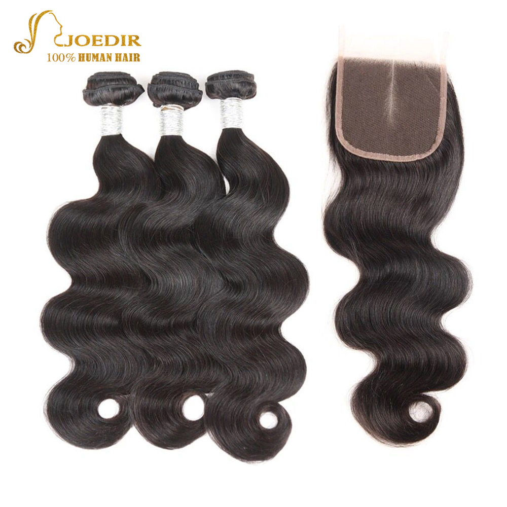 Joedir Human Hair Bundles With Closure Brazilian Body Wave NonRemy Middle Part Lace Closure Natural Color 3 Bundles With Closure