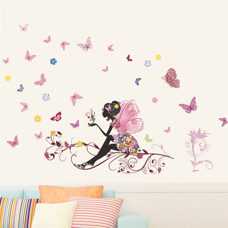 Beautiful Flower Fairy Tree Wall Sticker Decals Wing Moon Butterfly Girls  Room Decor Flower Fairy Sitting Vines Wall Decals Gift In Wall Stickers  From Home ...