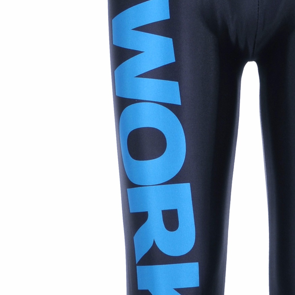 New 9098 Sexy Girl GYM Leggings Milk Blue Letter Alphabet Work Out Printed Running Fitness Sport Women Yoga Pants Plus Size