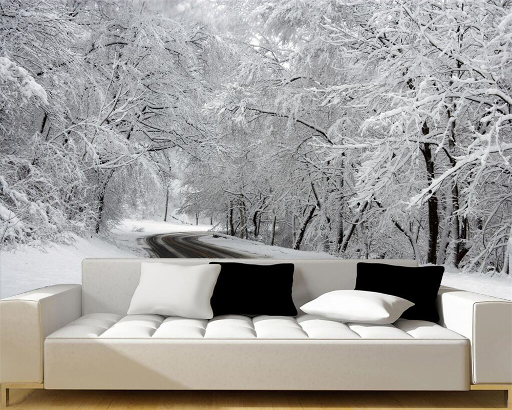 Miraculous Us 8 85 41 Off Beibehang Custom Wallpaper White Snow Woods Fresco Sofa Bed Tv Background Wall Living Room Bedroom Background Mural 3D Wallpaper In Gamerscity Chair Design For Home Gamerscityorg