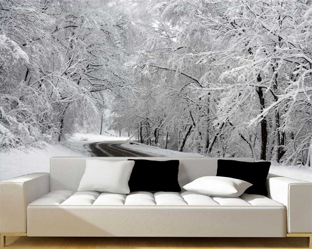 Beibehang Custom wallpaper white snow woods fresco sofa bed TV
