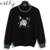 Makuluya Women Flowers Birds Sequins Embroidery Sweater Tops Long Sleeve Short Knitting Clothing Autumn Spring Winter