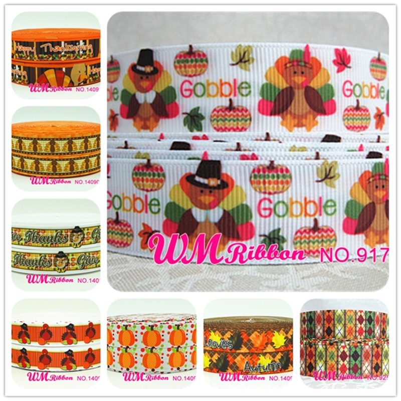 Q&N <font><b>ribbon</b></font> 7/8inch 22mm Thanksgiving <font><b>Halloween</b></font>