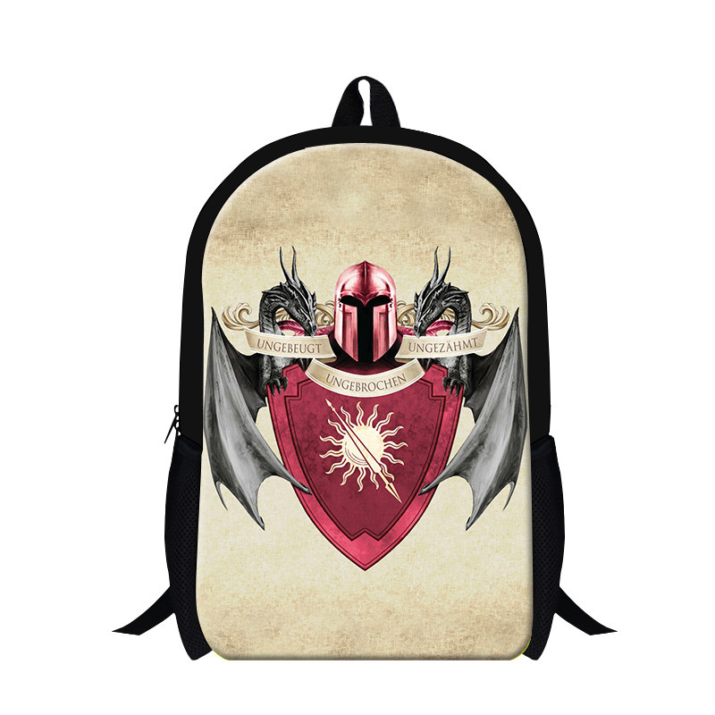 Game of Thrones Blood and Fire Canvas Printing Backpack School Bags for Teenagers Laptop Mochila Feminina
